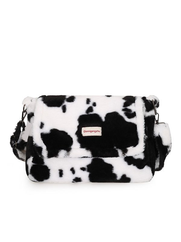 Cow Print Fuzzy Crossbody Bag - Black ONE SIZE