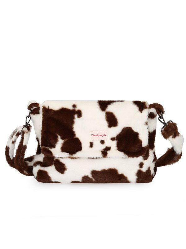 Cow Print Fuzzy Crossbody Bag - Brown ONE SIZE