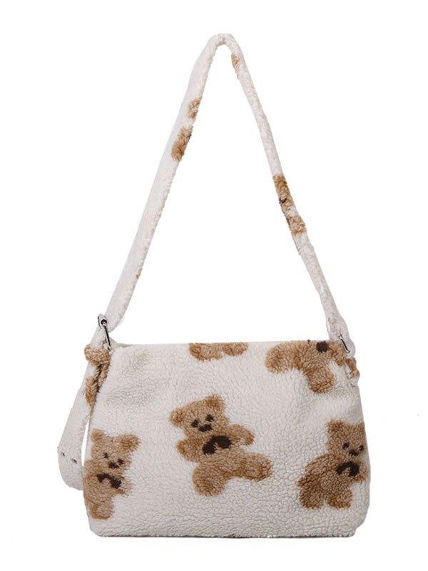 Teddy Bear Fleece Shoulder Bag - White ONE SIZE