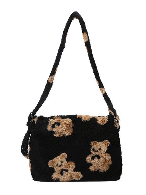 Teddy Bear Fleece Shoulder Bag - Black ONE SIZE