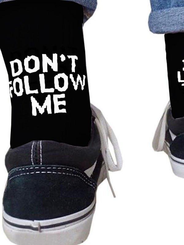 Dont Follow Me Crew Socks - Black ONE SIZE