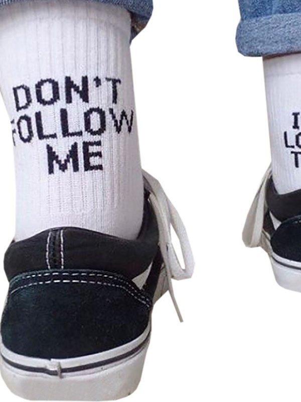 Dont Follow Me Crew Socks - White ONE SIZE