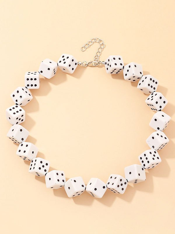 Funny Dice Charm Necklace -  ONE SIZE