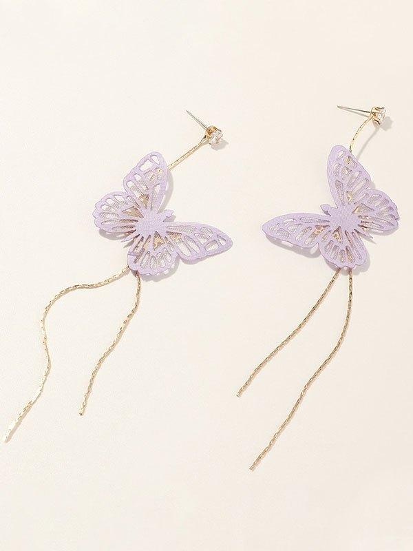 Cutout Butterfly Decor Tassel Earring - Purple ONE SIZE