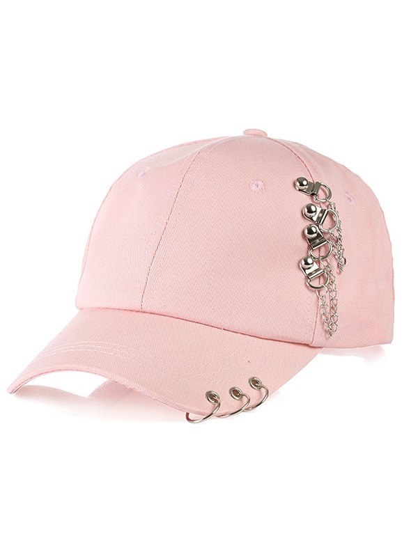 Metal Ring Decor Hip-Pop Baseball Hat - Pink ONE SIZE
