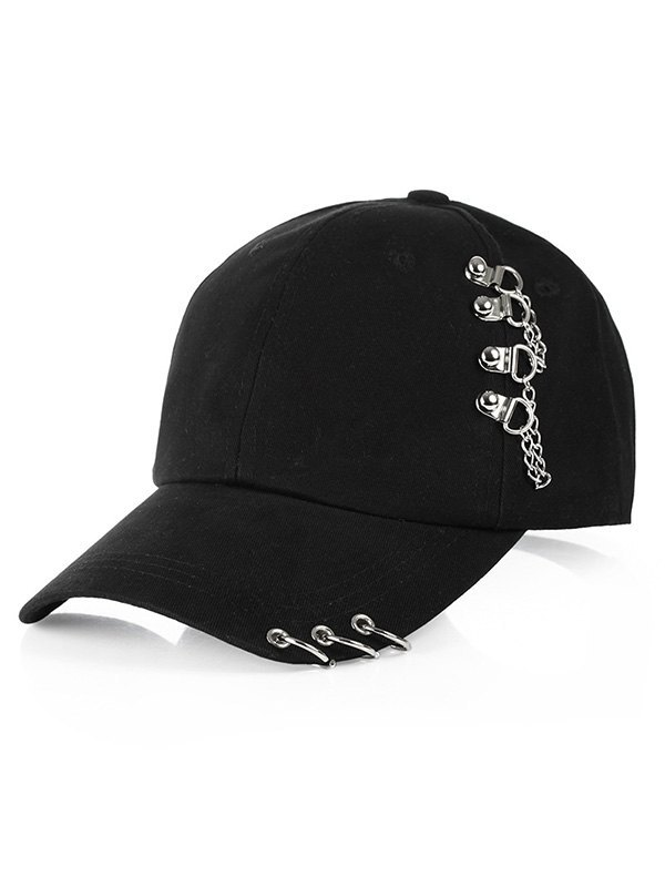 Metal Ring Decor Hip-Pop Baseball Hat - Black ONE SIZE