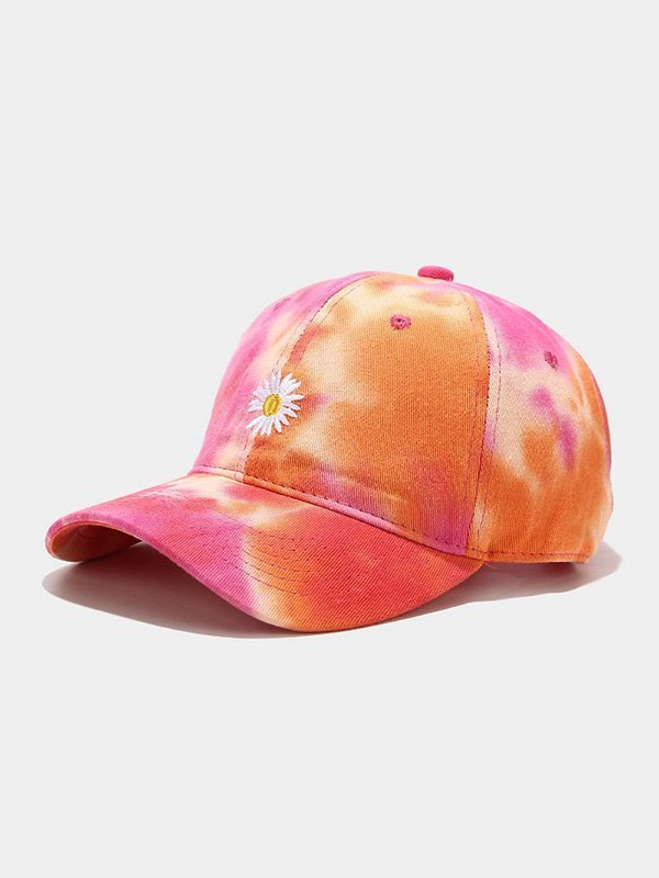Daisy Embroidered Tie-Dye Baseball Hat -  ONE SIZE