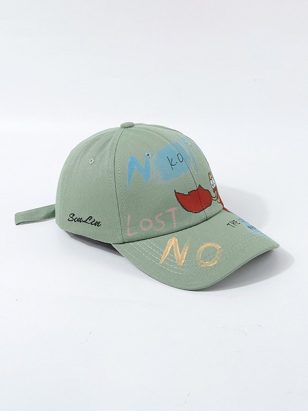Hand Drawn Doodle Baseball Hat - Green ONE SIZE