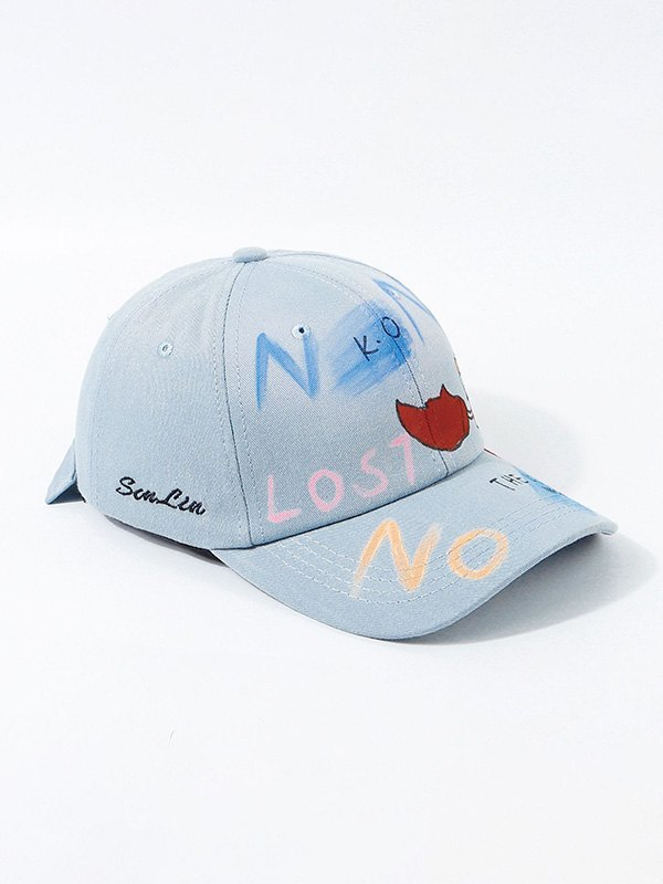 Hand Drawn Doodle Baseball Hat - Blue ONE SIZE