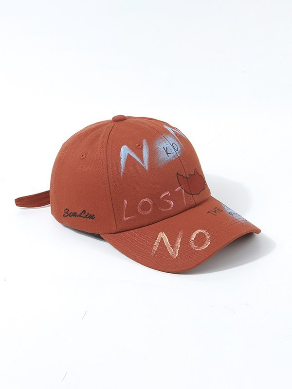 Hand Drawn Doodle Baseball Hat - Red ONE SIZE