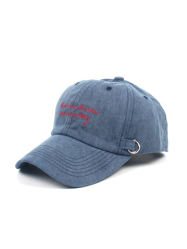 Distressed Letter Embroidered Baseball Hat - Navy Blue ONE SIZE