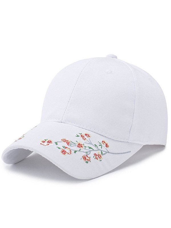 Blossom Embroidered Baseball Hat - White ONE SIZE