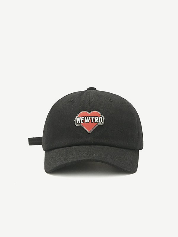 Heart Letter Graphic Baseball Hat - Black ONE SIZE