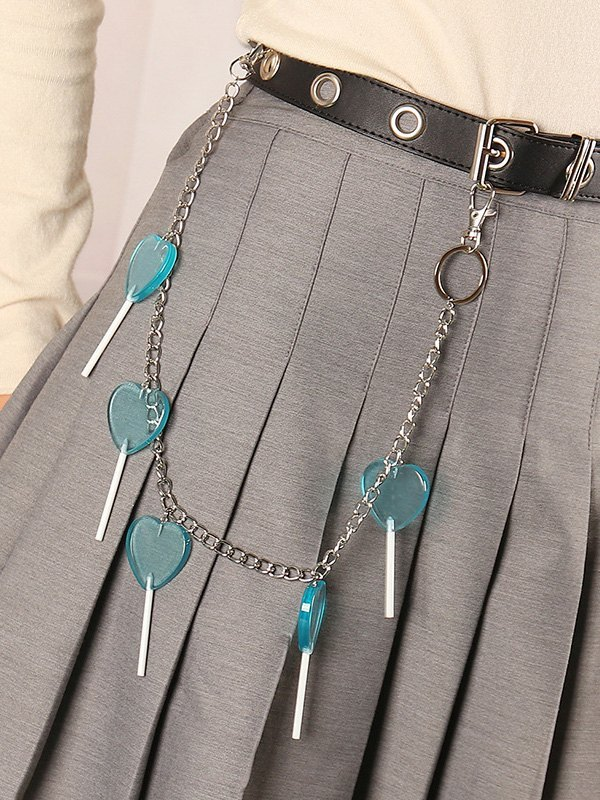 Love Lollipop Decor Pants Chain - Blue ONE SIZE