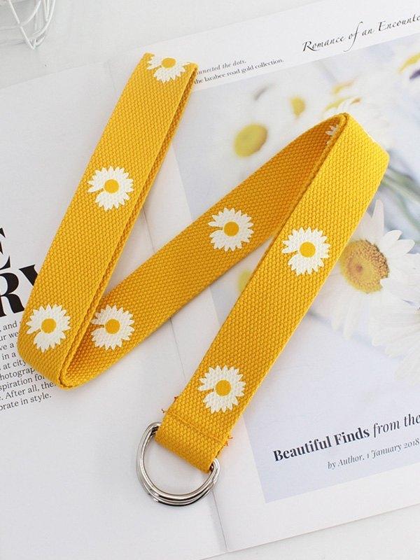 Daisy Pattern Canvas Buckle Belt - Yellow ONE SIZE