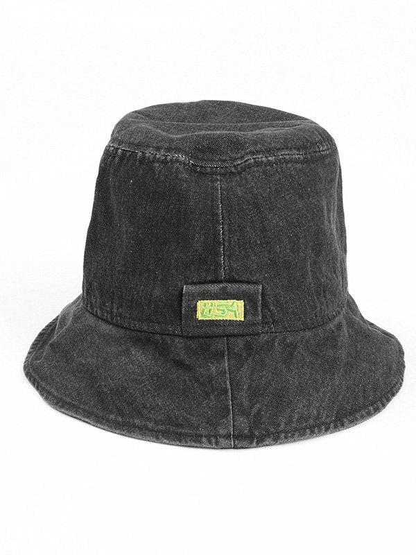 Washed Denim Bucket Hat - Black ONE SIZE