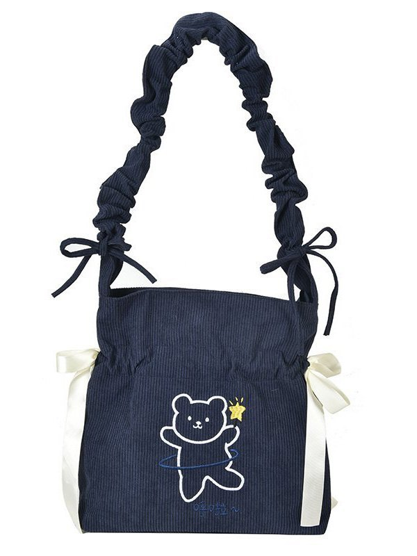 Cute Bear Ruched Crossbody Bag - Navy Blue ONE SIZE