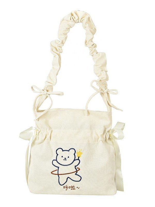 Cute Bear Ruched Crossbody Bag - White ONE SIZE