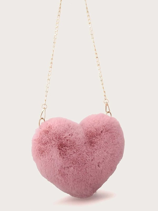 Fuzzy Heart Shaped Chain Bag - Pink ONE SIZE