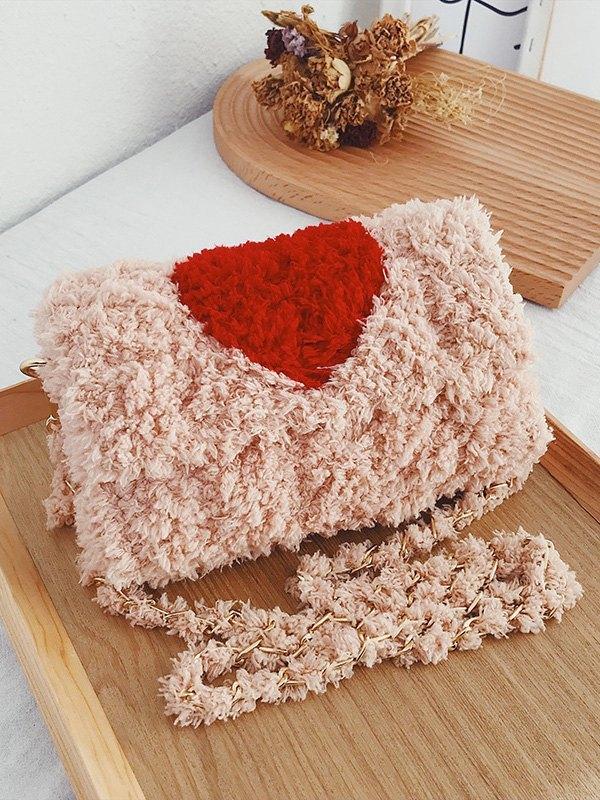 Happy Valentine Fleece Shoulder Bag - Pink ONE SIZE