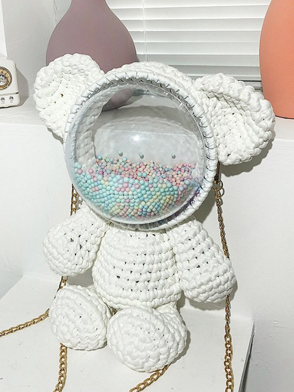 Hand-woven Bear Backpack Bag - White ONE SIZE