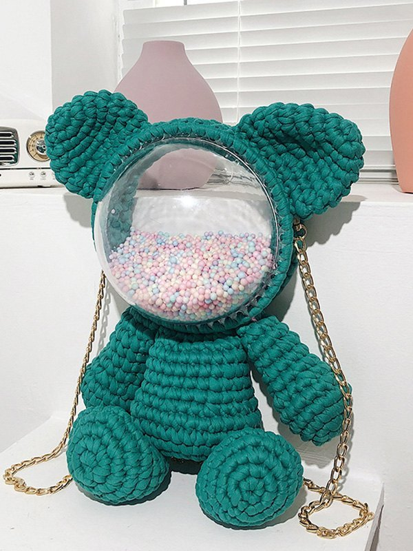 Hand-woven Bear Backpack Bag - Green ONE SIZE