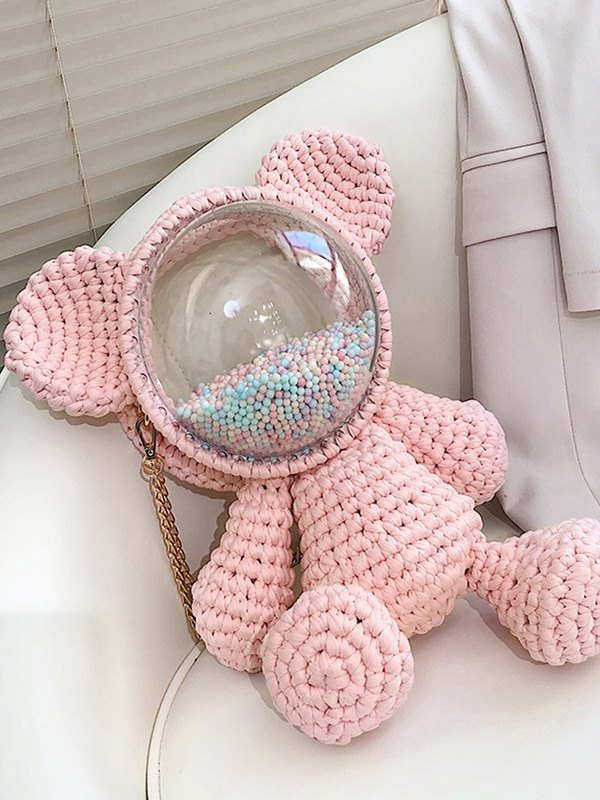 Hand-woven Bear Backpack Bag - Pink ONE SIZE