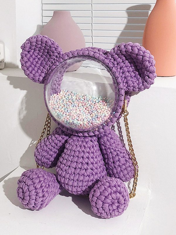 Hand-woven Bear Backpack Bag - Purple ONE SIZE