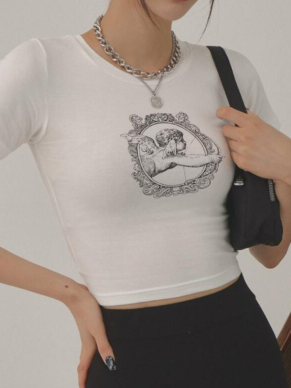 Angel Mirror Print Cropped Tee - White M