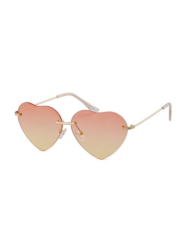 Heart Shaped Rimless Sunglasses - Yellow ONE SIZE