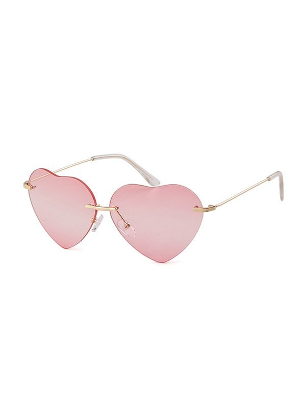 Heart Shaped Rimless Sunglasses - Pink ONE SIZE