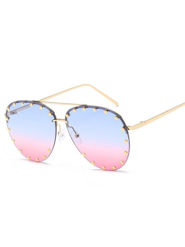 Rivet Decor Aviator Sunglasses - Blue ONE SIZE