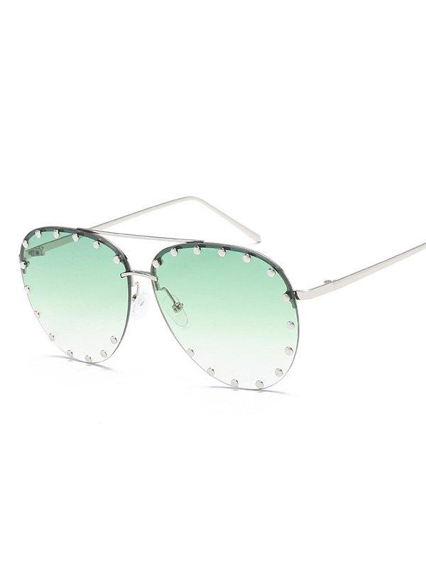 Rivet Decor Aviator Sunglasses - Green ONE SIZE