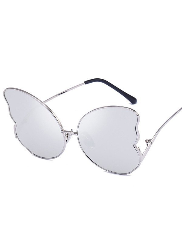 Metal Butterfly Lens Sunglasses - Silver ONE SIZE