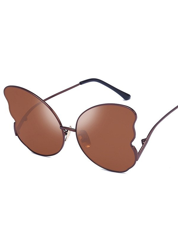 Metal Butterfly Lens Sunglasses - Coffee ONE SIZE