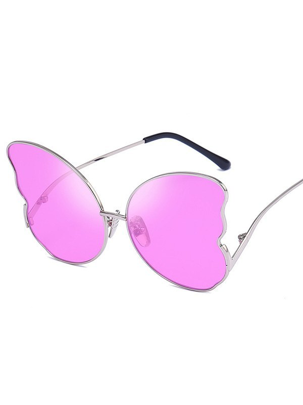 Metal Butterfly Lens Sunglasses - Pink ONE SIZE