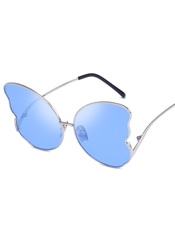 Metal Butterfly Lens Sunglasses - Blue ONE SIZE