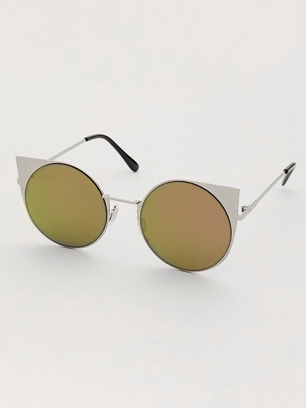 Tinted Vintage Frame Sunglasses - White ONE SIZE
