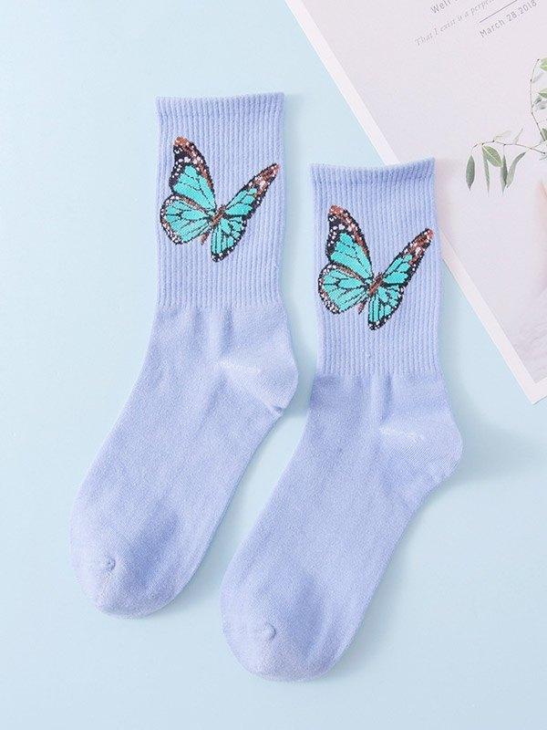 Butterfly Jacquard Crew Socks - Blue ONE SIZE