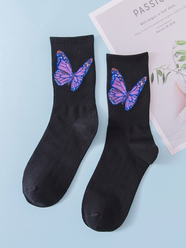 Butterfly Jacquard Crew Socks - Black ONE SIZE