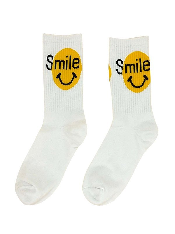 Smile Graphic Crew Socks - White ONE SIZE