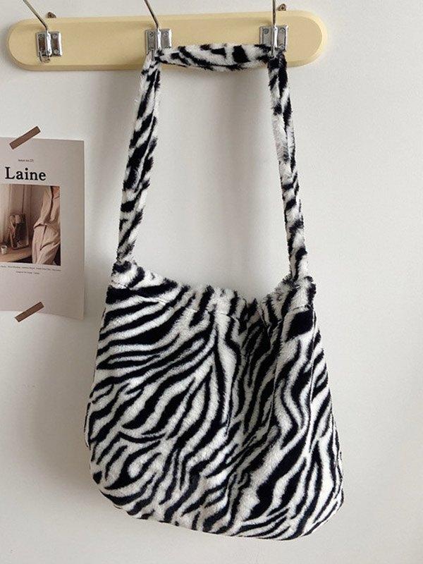 Zebra Print Fuzzy Shoulder Bag - Black ONE SIZE