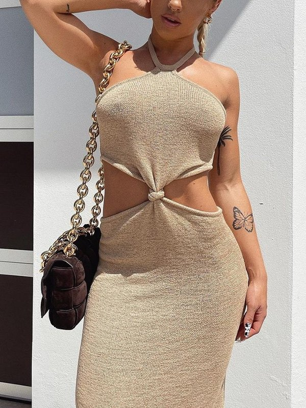 Halter Knotted Maxi Dress - Beige S