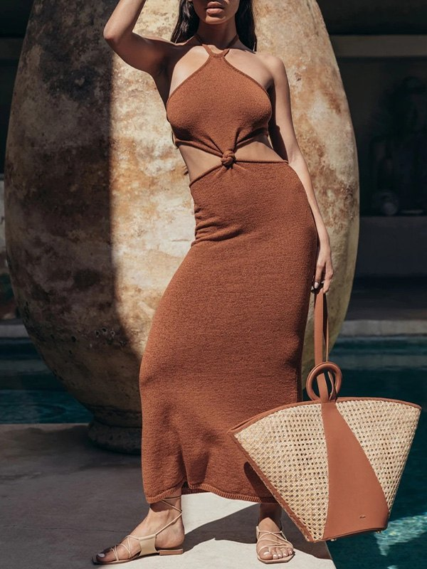 Halter Knotted Maxi Dress - Brown S