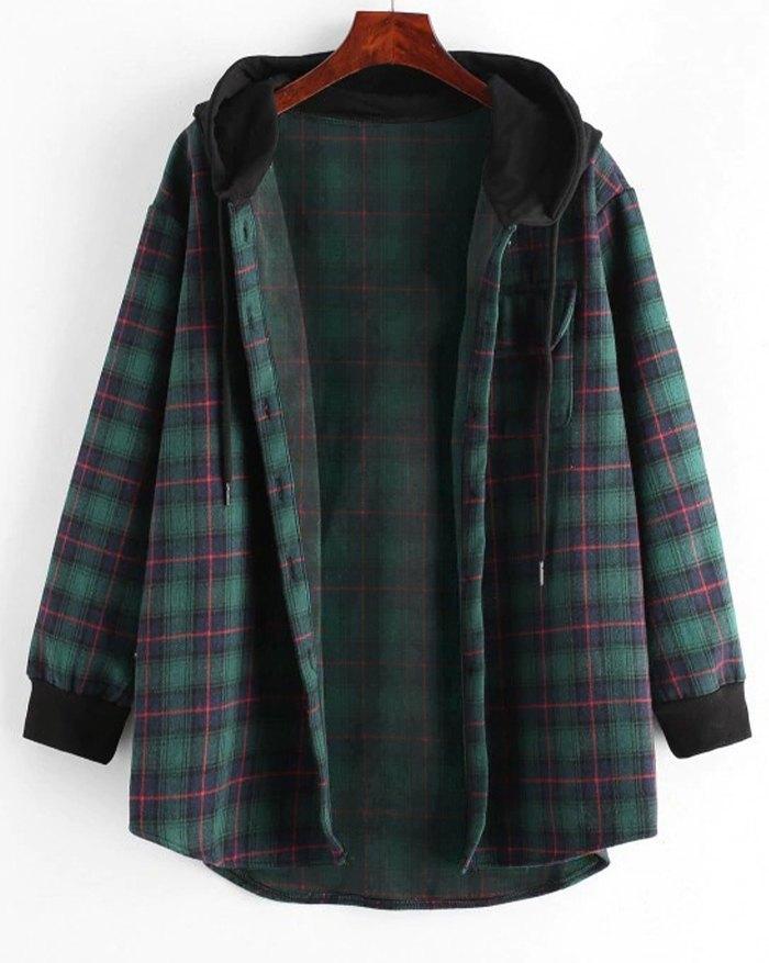 Check Hooded Shirt Jacket - Green L