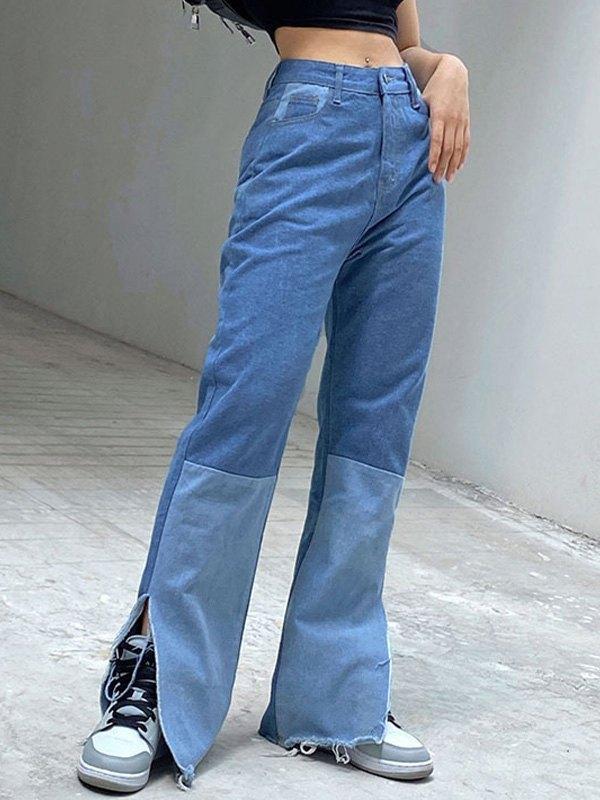 Patchwork Split Flare Jeans - Blue S