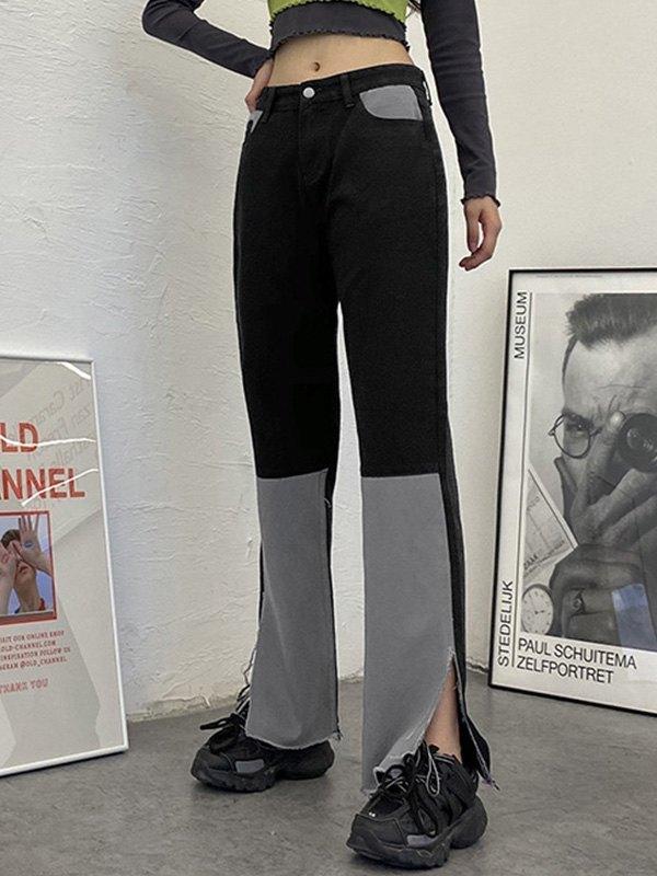 Patchwork Split Flare Jeans - Black S
