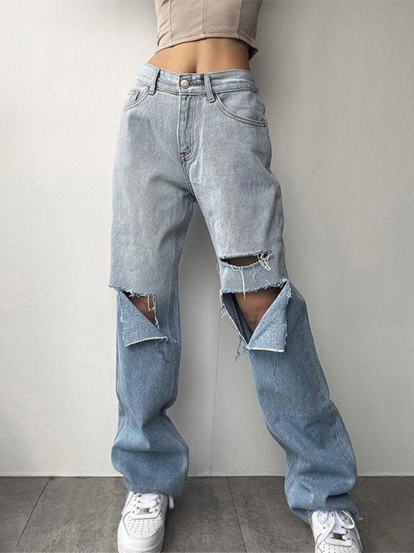 Ombre Straight Ripped Jeans - Blue L