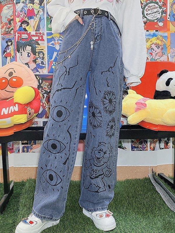 Cartoon Graphic Boyfriend Jeans - Blue L