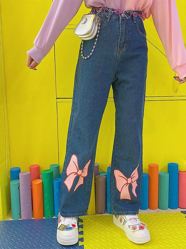 Bow Tie Print Mom Jeans - Blue M